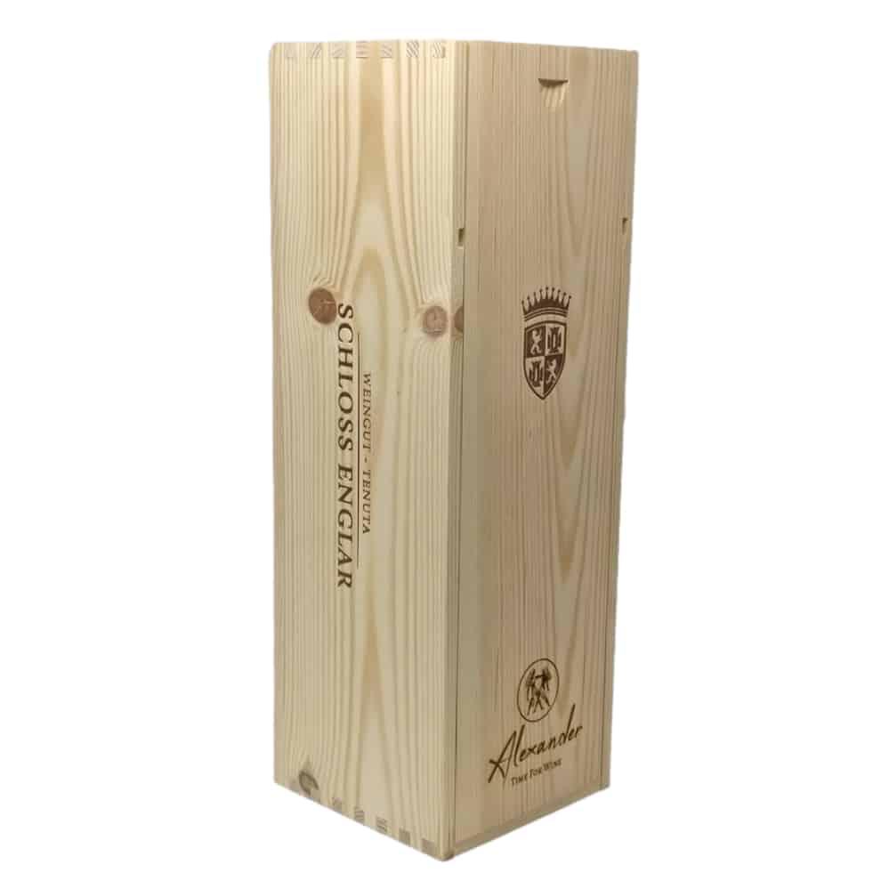 Personalisierte Holzkiste mit Magnumflasche